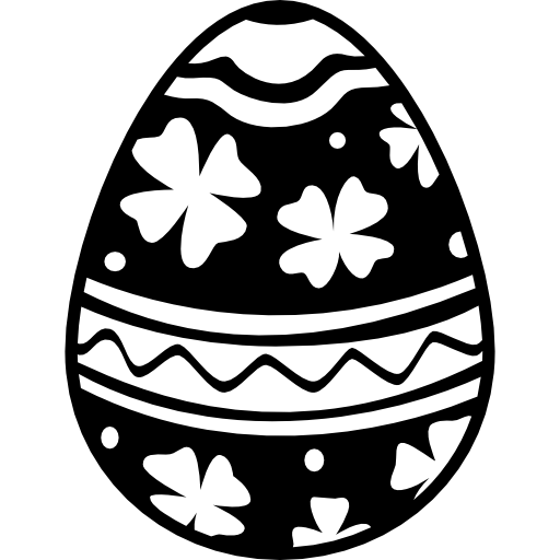 Easter Egg With Flowers And Lines Decoration Icons Free Download