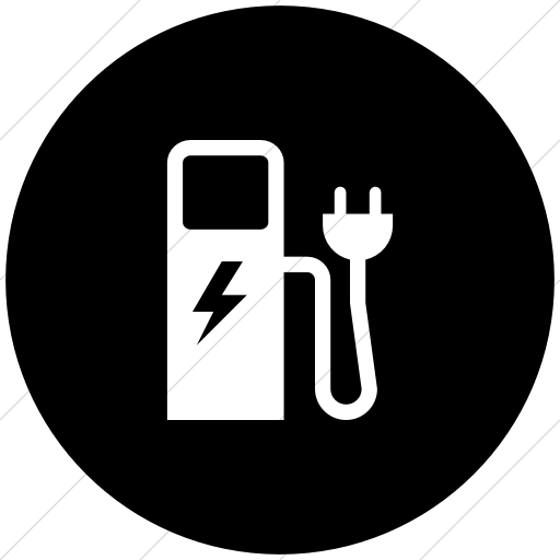 Flat Circle White On Black Iconathon Electric Charging