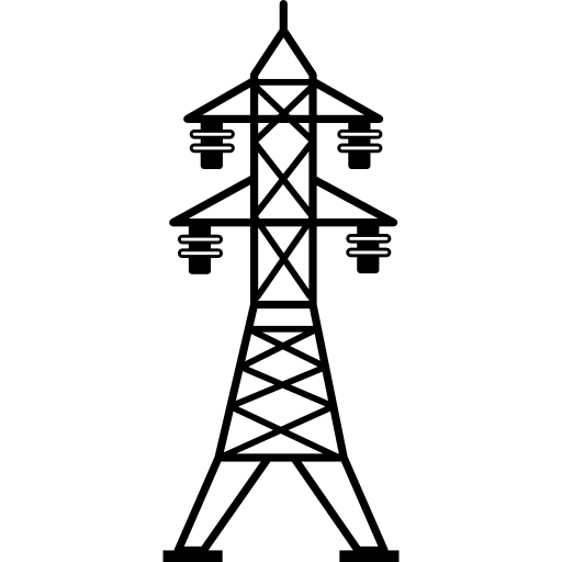 Power Line With Four Insulators Icons Free Download