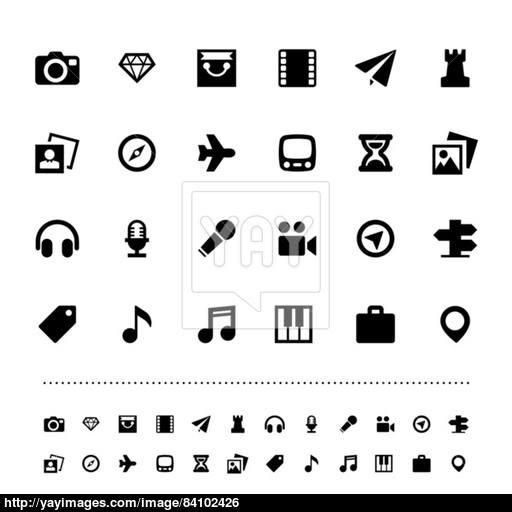 Retina Travel And Entertainment Icon Set Vector