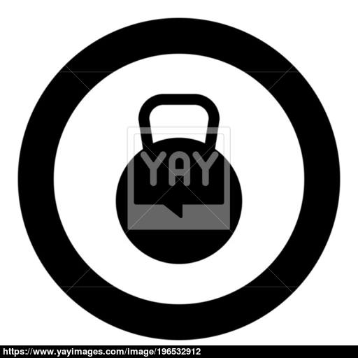 Kettlebell Icon Black Color In Circle Or Round Vector