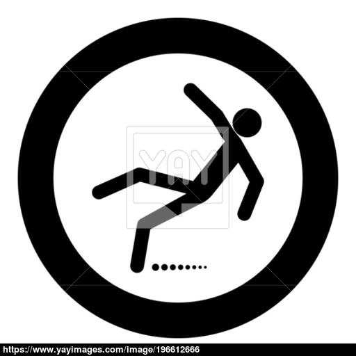 Man Slip Fall Icon Black Color In Circle Vector