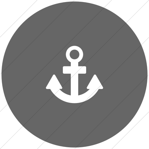 Flat Circle White On Gray Foundation Anchor Icon