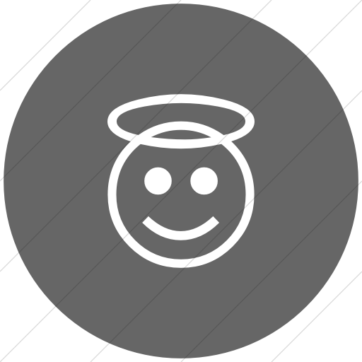 Flat Circle White On Gray Classic Emoticons Smiling