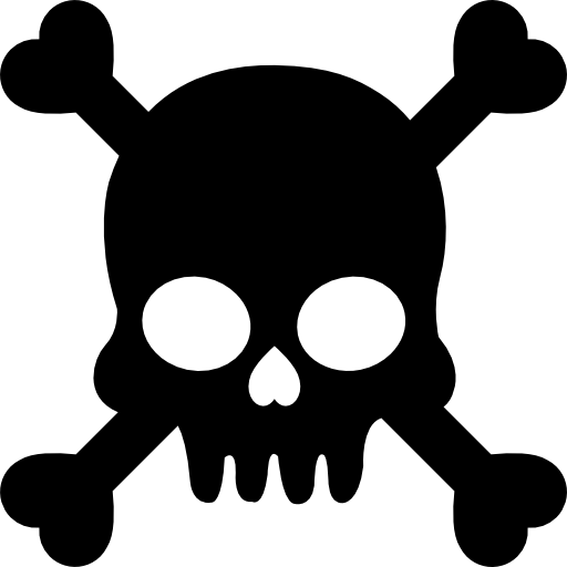Human Skull With Crossed Bones Silhouette Icons Free Download
