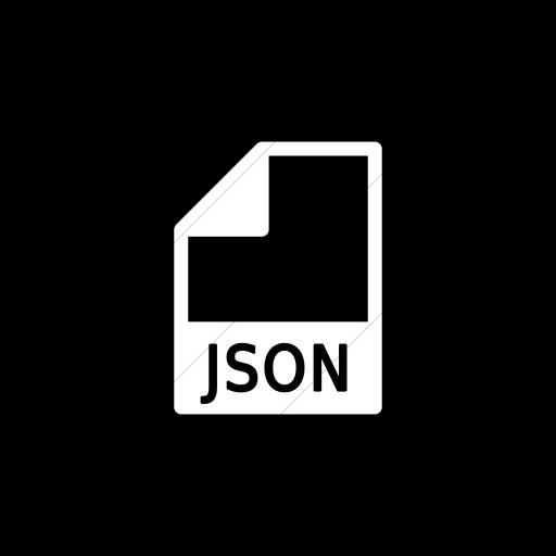 Flat Circle White On Black Mime Types Document Json Icon