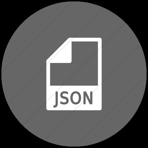 Flat Circle White On Gray Mime Types Document Json Icon