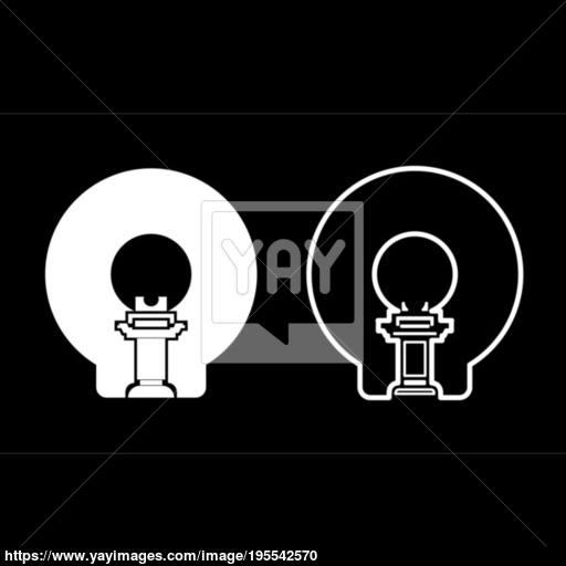 Magnetic Resonance Imaging Diagnostic Icon Set White Color