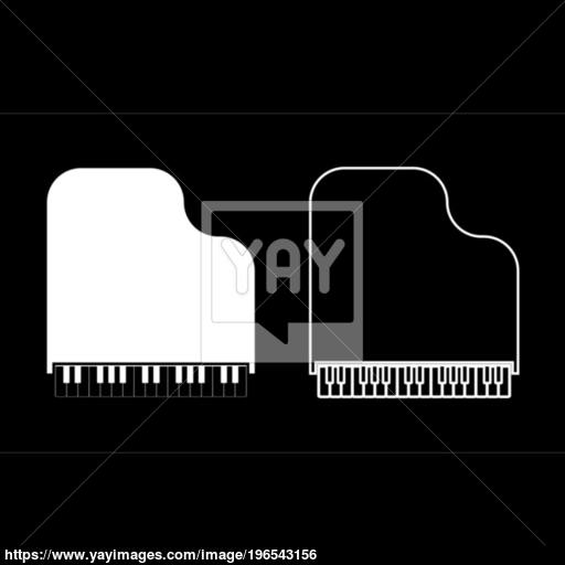 Grand Piano Icon Set White Color Illustration Flat Style Simple