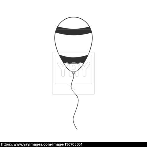 Balloon With Israel Flag Stripes Styled Icon In Black Flat Outli