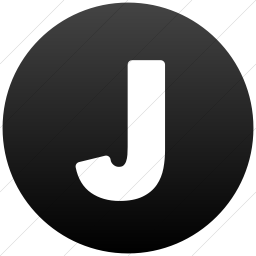 Simple Black Gradient Encircled Solid Capital J Icon