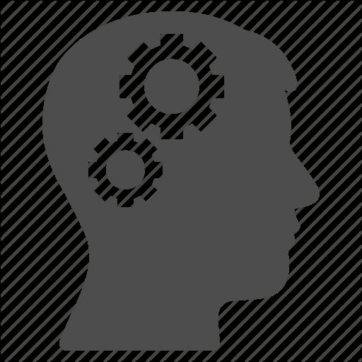 Brain, Education, Gears, Idea, Knowledge, Power, Solution Icon