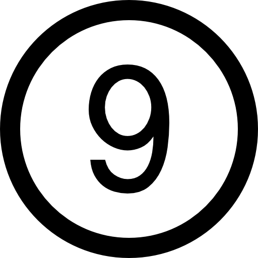 Number Nine In A Circle Icons Free Download