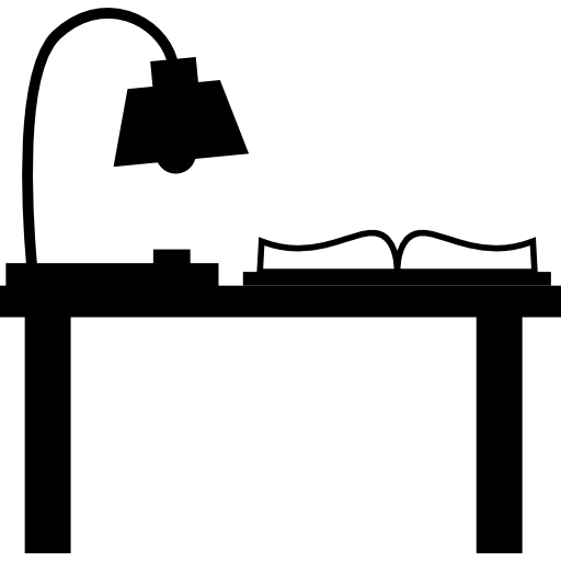 Light Lamp And Book On A Desk For Study Icons Free Download