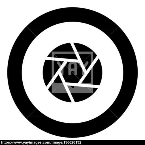 Camera Lens Shutter Icon Black Color In Circle Vector