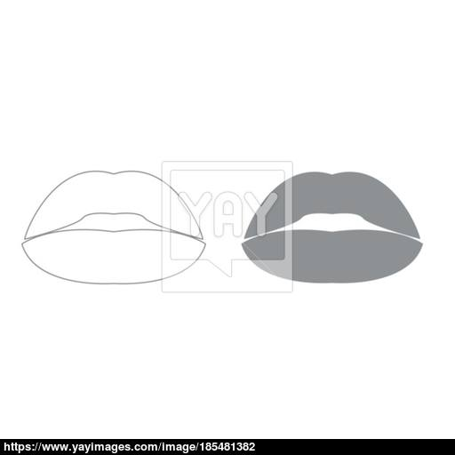 Lipstick Or Lips Grey Color Set Icon Vector