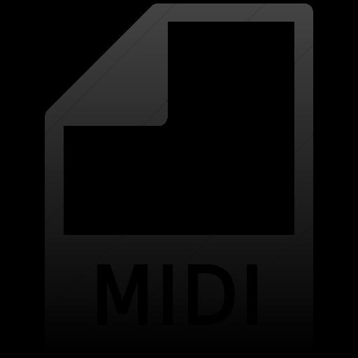 Simple Black Gradient Mime Types Document Midi Icon
