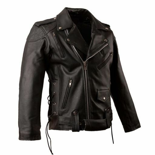 Leather Brando Classic Black Motorcycle Biker Jacket Removable