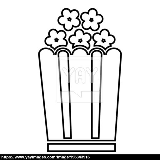 Popcorn Icon Black Color Illustration Flat Style Simple Image