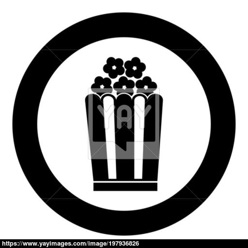 Popcorn Icon Black Color Vector Illustration Simple Image Vector
