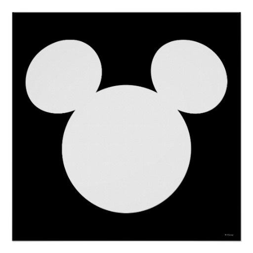 Disney Logo White Mickey Icon Poster Disney Posters