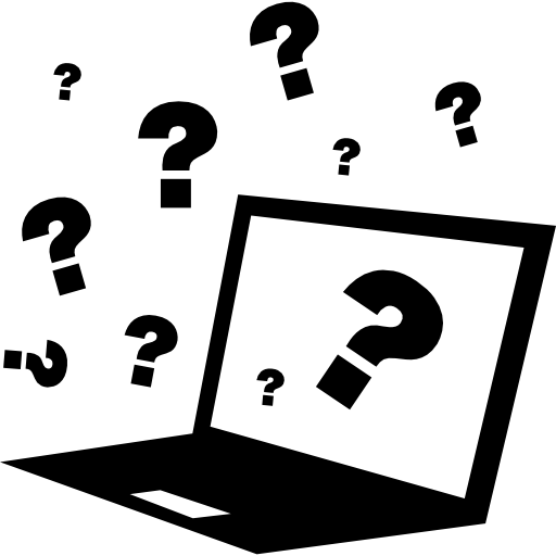 Quiz On Computer With Question Signs Around Icons Free Download