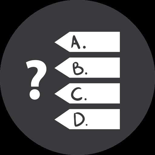 Games, Quiz, Grey Icon