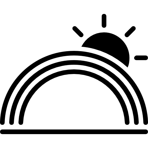 Rainbow Weather Symbol With The Sun Icons Free Download