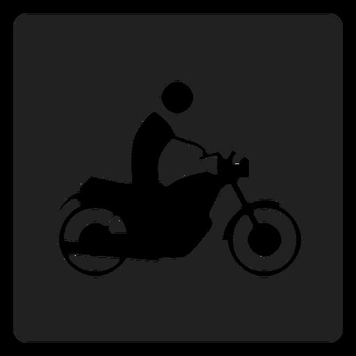 Man Riding A Motorbike Square Icon