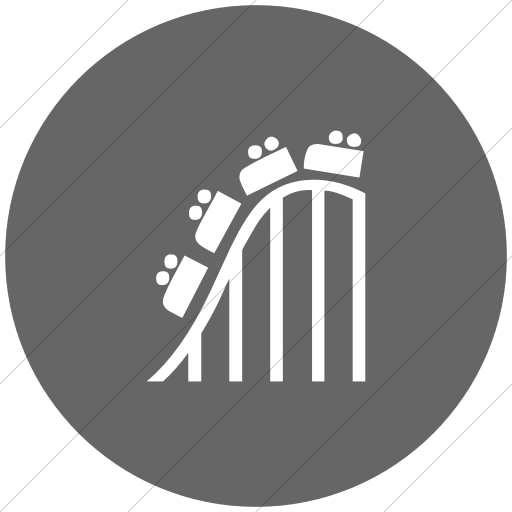 Flat Circle White On Gray Classica Roller Coaster Icon