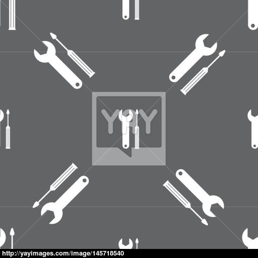Repair Tool Sign Icon Service Symbol Screwdriver With Wrench