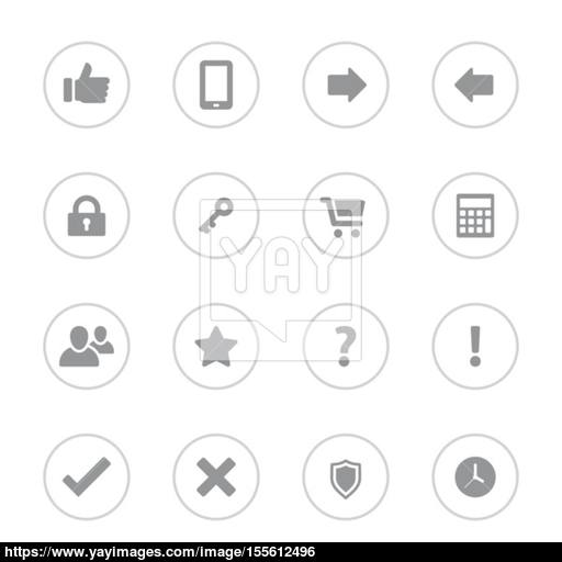 Gray Simple Flat Icon Set With Circle Frame Vector