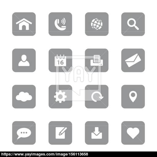 Web Icon Set On Gray Rounded Rectangle Vector
