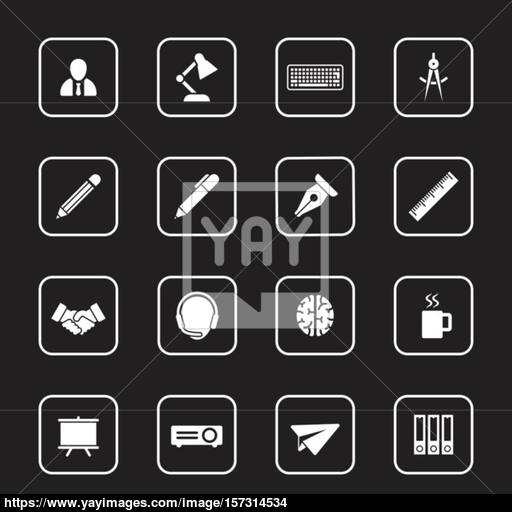 White Flat Business And Office Icon Set With Rounded Rectangle