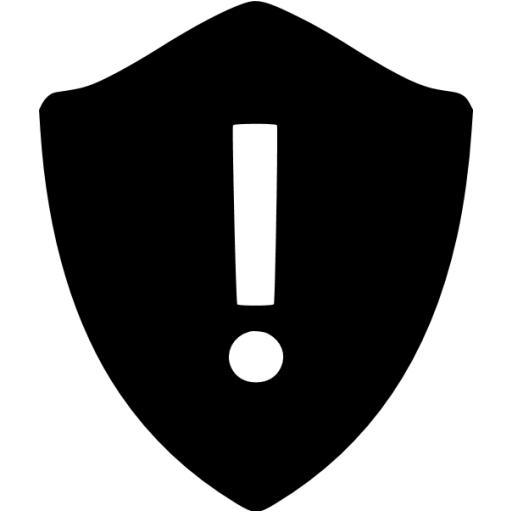 Black Warning Shield Icon