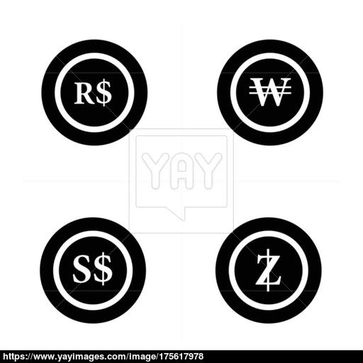 Coins Icon, Real Brazil Wons, Singapore Dollars Vector
