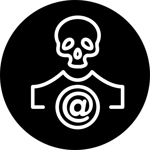Skull Outline With Arroba Sign In A Circle Icons Free Download