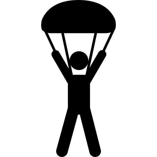 Skydiving Silhouette Falling Icons Free Download
