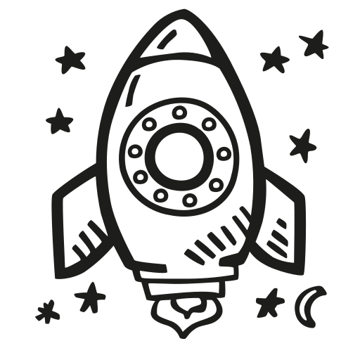 Space, Rocket Icon Free Of Space Hand Drawn Black Sticker
