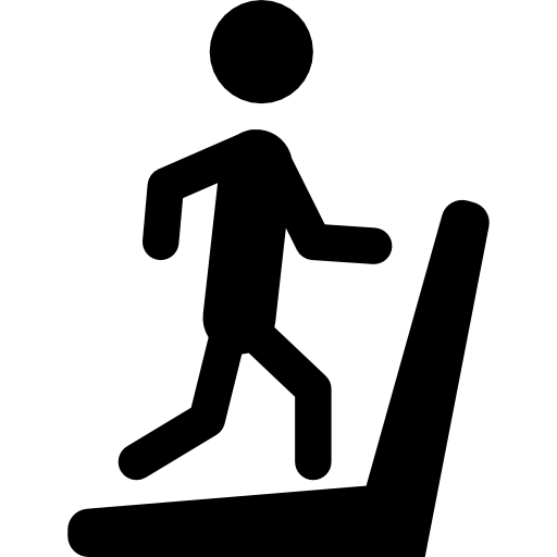 Man Silhouette Running On Treadmill Machine Icons Free Download