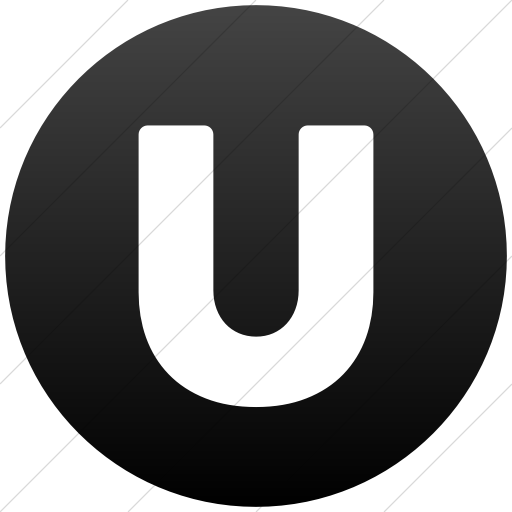 Simple Black Gradient Encircled Solid Capital U Icon