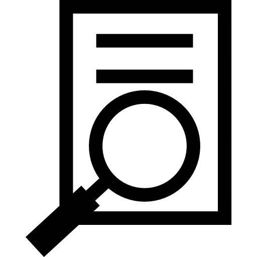 Paper With Text And Magnifying Glass Icons Free Download