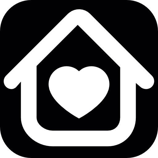 House Outline With A White Heart Inside Icons Free Download