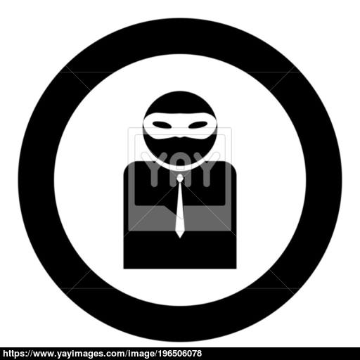 The Man Incognito In A Mask The Black Color Icon In Circle