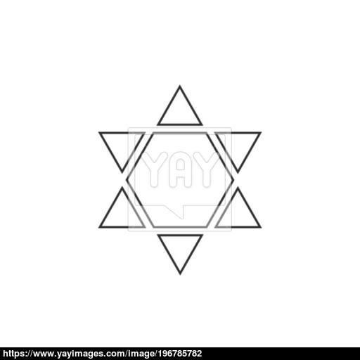 Star Of David Shape Icon In Black Flat Outline Design Vector