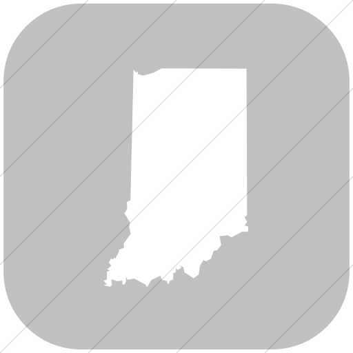 Flat Rounded Square White On Silver Us States Indiana Icon