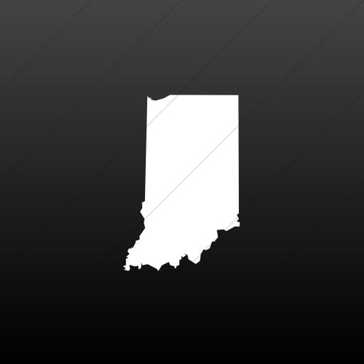 Flat Square White On Black Gradient Us States Indiana Icon