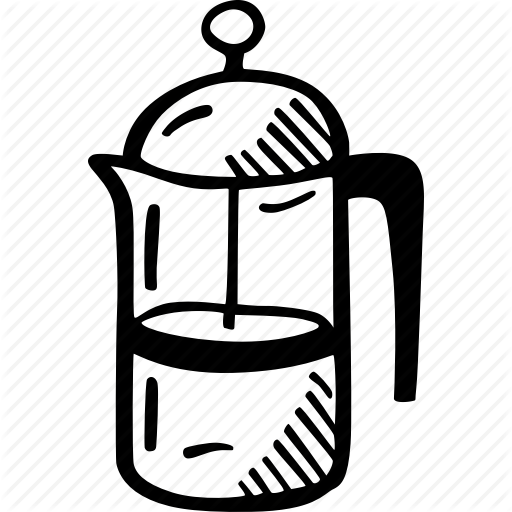 Cafetiere, Coffee, Coffee Maker, Hand Drawn Icon