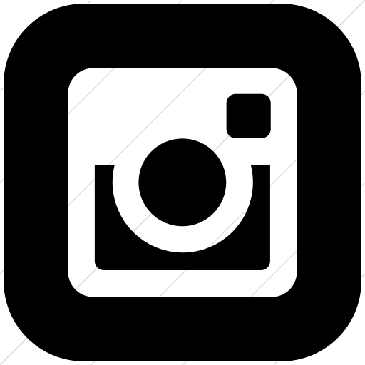 Flat Rounded Square White On Black Social Media
