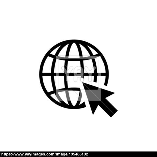 Go To Web Icon In Flat Style Internet Symbol Vector